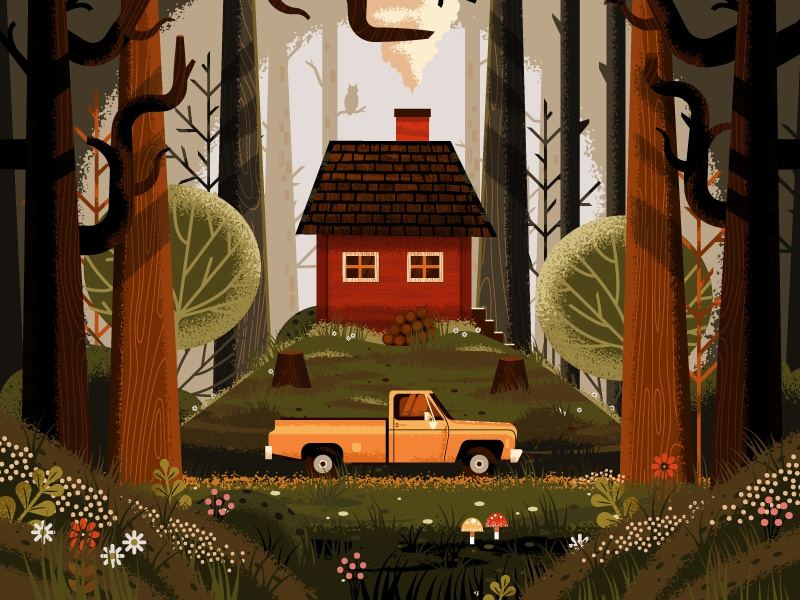 Up in the Woods outdoor pickup truck owl foliage mushroom flowers plants nature trees forest cabin