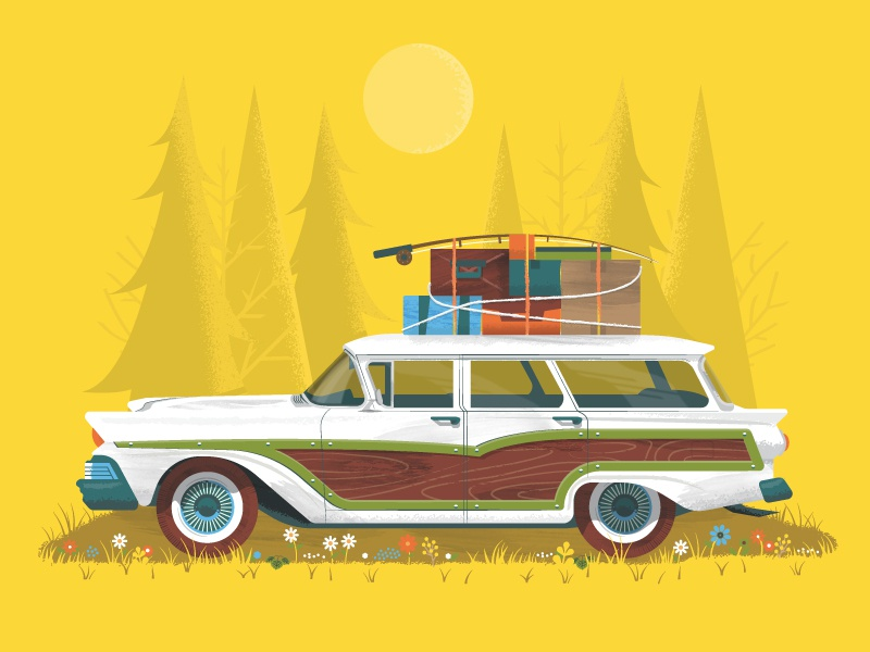 Get Lost flowers vehicle car trees forest mid century modern retro fishing pole fishing travel luggage wagon