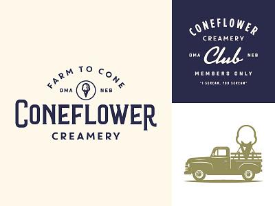 Coneflower Creamery WIP member club nebraska omaha branding typography type truck cone farm ice cream
