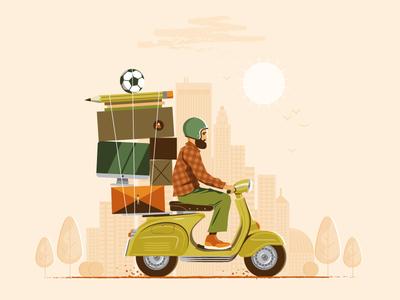 Full-Time Freelance riding adventure box pencil soccer world town city travel moto vespa scooter