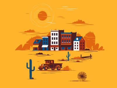 Wild West Town pickup saloon sun desert hill tumble weed western city building town cactus truck