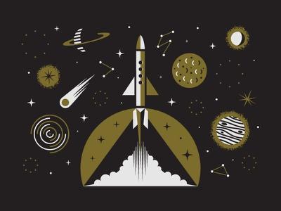 Space Letterpress Card Design gold asteroid print letterpress constellation stars moon planet rocket