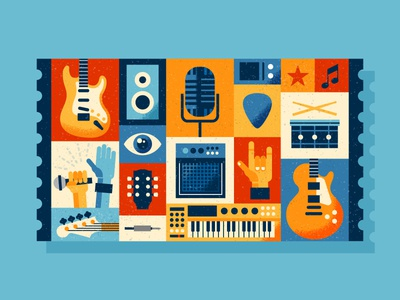 Intel - Ticket App Illustration neck pedal song concert drums microphone amp keyboard bass guitar music