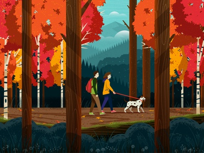 Fall Hike dog moss aspen tree foliage walk outdoors landscape scenic nature