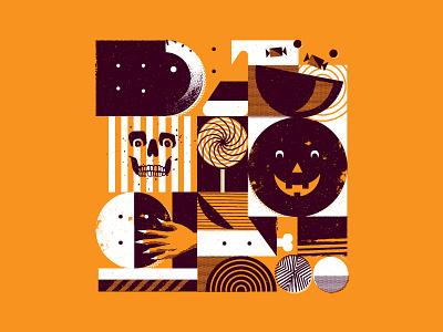 Spooky Shape Study  collage eyeball eye pumpkin skull sucker candy pattern abstract halloween