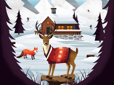 Skiing Magazine / Salomon Skis / 30 Days of Play Ad outdoors sweater winter snow trees nature woods cabin fox deer mountain ski