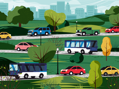 City Streets infrastructure skyline bus truck car road street hill tree cityscape city