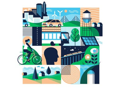 City Style Exploration pattern texture skyline car bus halftone town biker city abstract grid