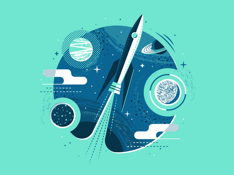 Rocket Print  interstellar stars cloud exploration saturn moon outer space halftone planet rocket space