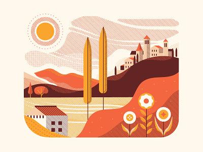 Tuscany  postcard landscape mountain town city italy flower sun sky house hill halftone