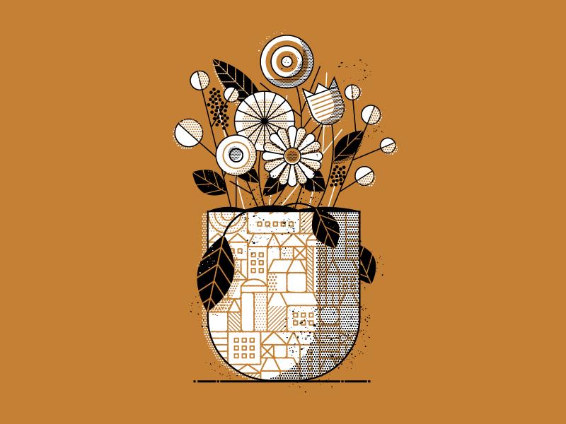 Cityscape Vase flower leaves halftone potted pot city leaf plants flowers