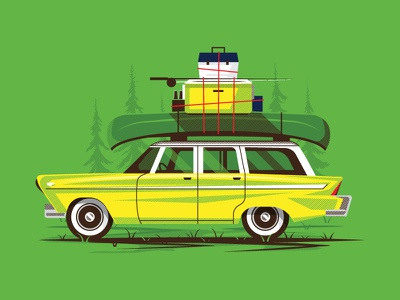 Kinkaider Brewing Co. - Moscow Mule car reflection tree grass fishing beer halftone outdoors road trip boat wagon