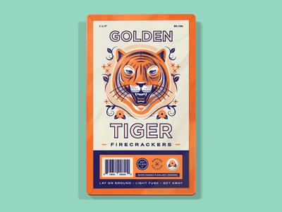 Golden Tiger Firecrackers explosive cat animal tiger halftone flower head firework package