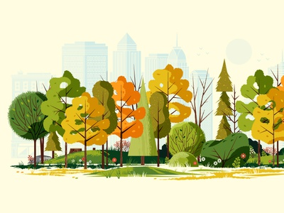 Fall in the City building park wood pine nature flower grass foliage skyline tree leaves