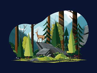 Woodsy Landscape tree scenic rock plants park outdoors nature mountain grass flower deer