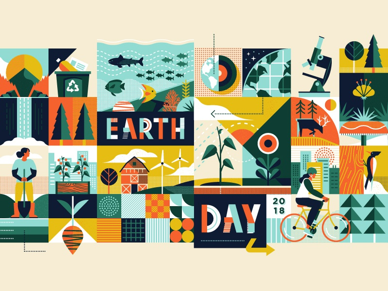 Adobe Insiders - Earth Day ocean sea bike nature tree flower animals plants abstract collage