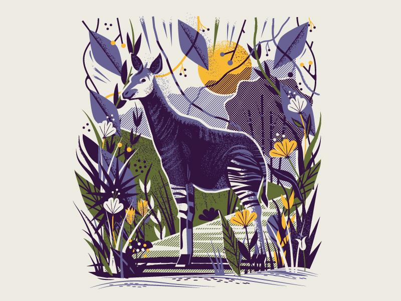 Cincinnati Zoo / Zoogeist wildlife wild sun flower plant leaves poster print halftone texture animal okapi