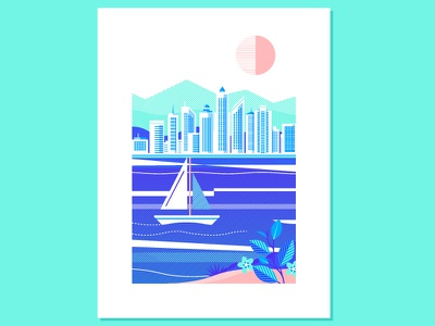 Seaside 2 flower sailboat island water ocean mountain sun cityscape city lines halftone boat sea