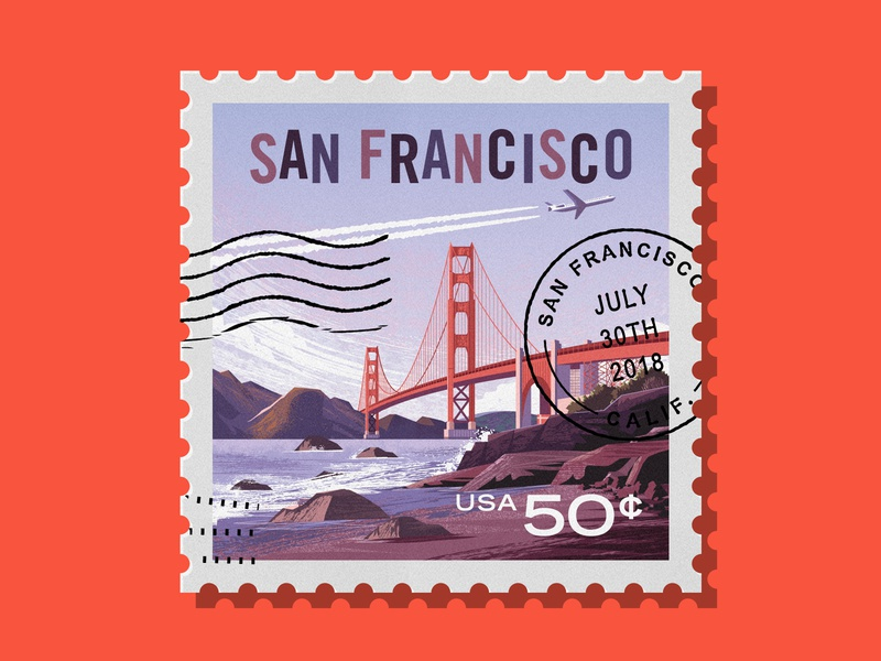 Adobe Insiders - San Francisco Stamp airplane rock nature stamp city landscape water golden gate bridge bay beach vector