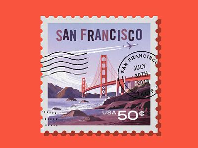 Adobe Insiders - San Francisco Stamp airplane rock nature stamp city landscape water golden gate bridge bay beach vector