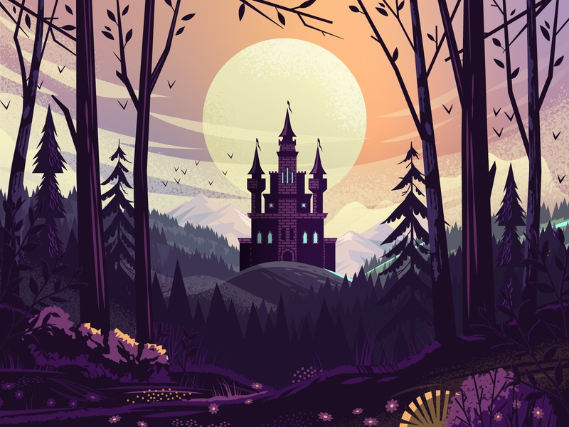 Adobe Creative Cloud - Freeform Gradient - Halloween gradient eerie landscape sky skyline mountains haunted castle moody outdoors tree nature