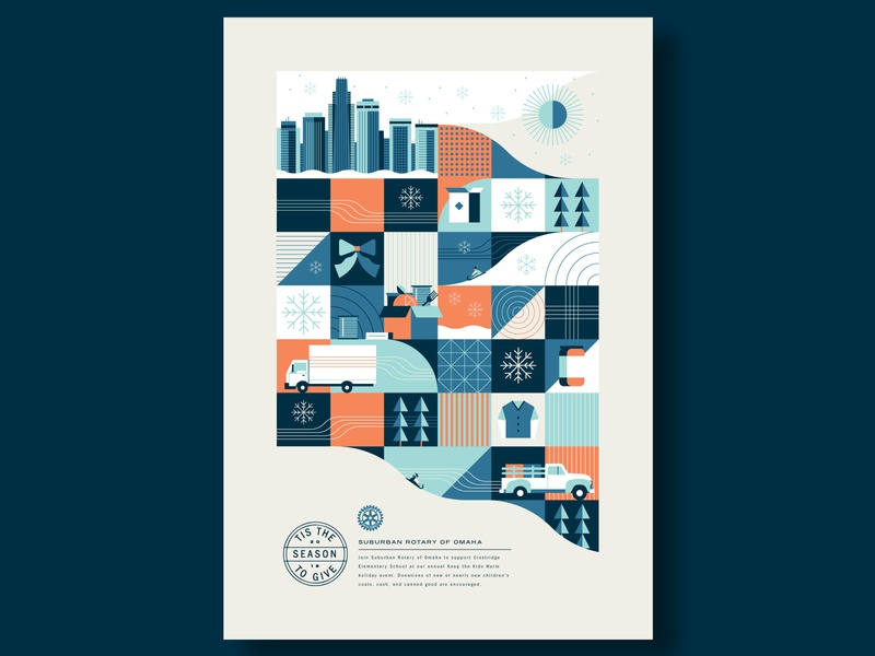 Adobe Insiders - Holiday Poster building geometric abstract grid donate snowflake snow city skyline delivery truck winter