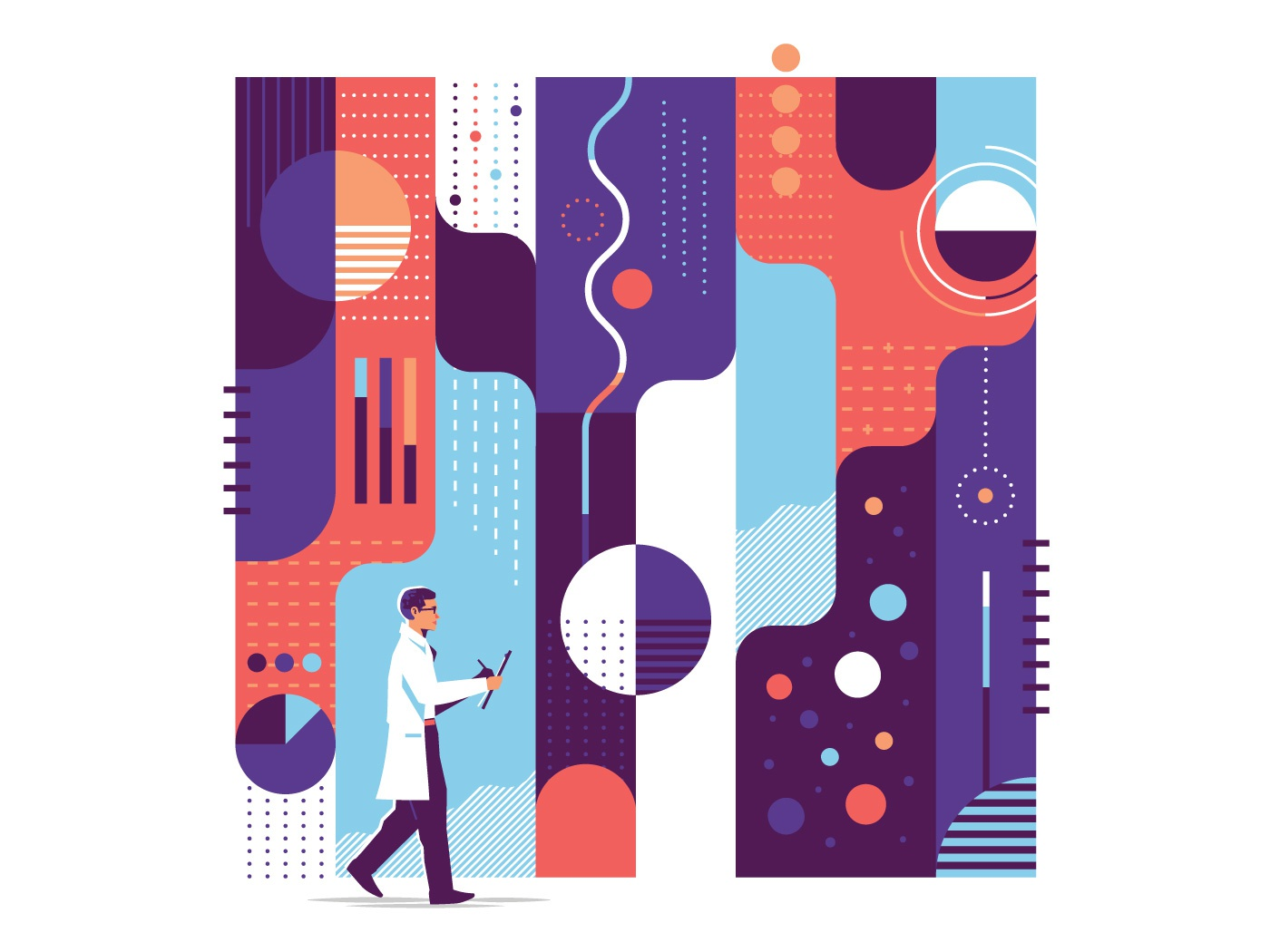 Scientist texture line man flow dot science person pattern analytics data walking abstract