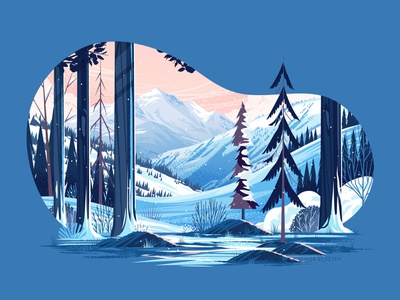 Adobe Create Magazine - Wintry Scene adobe tutorial cloud sky hills abstract winter snow mountain forest plants landscape tree outdoors nature