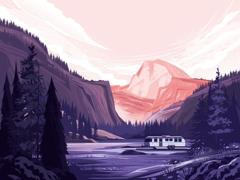 Fast Company - Autocamp Illustration print mountain clouds flower outside outdoors valley airstream landscape tree nature