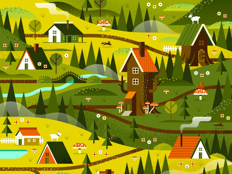 Two Dots - Fairy Tale Map mushroom fog goat trail aframe cabin house hills woods forest landscape outdoors flower tree nature