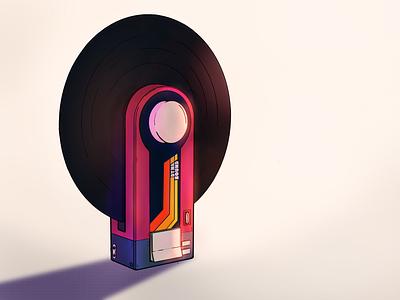 Dynasound | Chindōgu illustration procreate art procreateapp procreate neoretro 80s color lighting object chindogu record player vinyl illustration