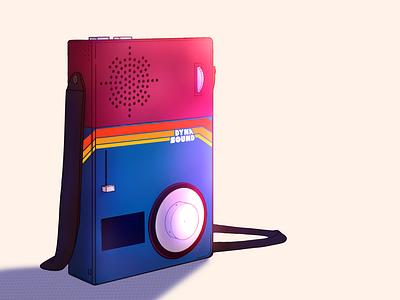 Dynasound | Chindōgu illustration neon colors lighting speaker vinyl record productdesign walkman 80s neoretro record player vinyl procreateapp procreate illustration