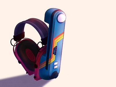 Dynasound | Chindōgu illustration 80s style headset record player vinyl record vinyl productdesign product lighting neon colors neoretro 80s procreateapp procreate illustration