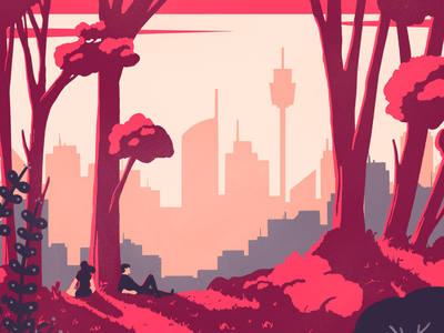 Sydney's skyline procreateapp procreate sunset colorful illustration pink landscape illustration trees sydney landscape