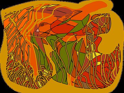 fall bird illustration drawing