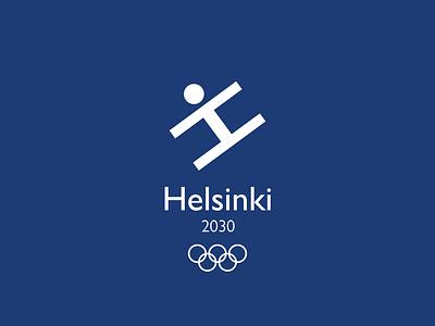 Helsinki Olympic Games Logo winter symbol skiing mockup logotype sports logo sports olympic games olympics helsinki finland minimal logo design graphic design logo design branding