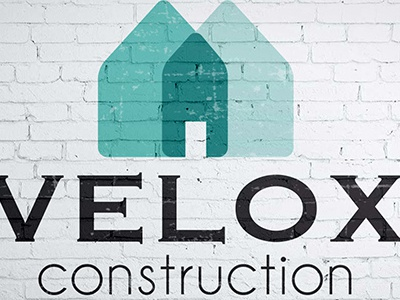 Velox Construction Logo graphic design typography illustration logomark logo design logo