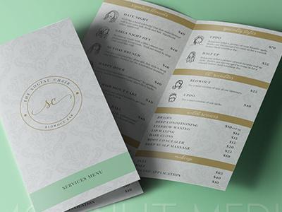 The Social Chair Services Menu commercial printer design studio creative agency print design creative brand identity graphics illustrator branding typography logo design menu