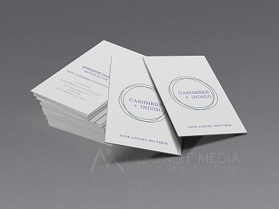 Cashmere + Indigo Business Cards commercial printer design studio creative agency print design creative brand identity graphics illustrator branding typography logo design business cards