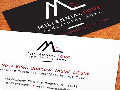 Millennial Love Business Cards commercial printer design studio creative agency print design creative brand identity graphics illustrator branding typography logo design business cards