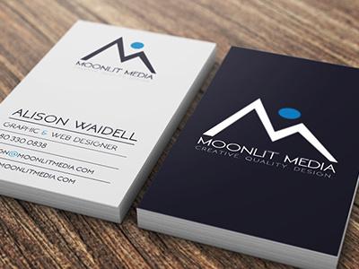 Moonlit Media Business Cards commercial printer design studio creative agency print design creative brand identity graphics illustrator branding typography logo design business cards