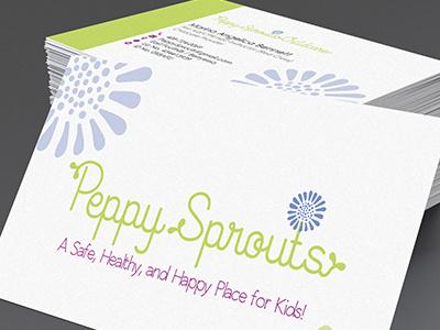 Peppy Sprouts Logo & Business Cards commercial printer design studio creative agency print design creative brand identity graphics illustrator branding typography logo design business cards