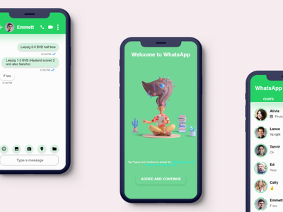 WhatsApp Concept whatsapp 3d illustration flat app ui ui uidesign design