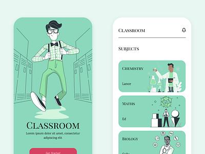 Classroom white branding flat minimal ui ui uidesign design