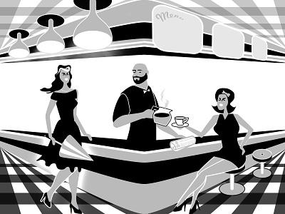 Tom's Diner umbrella newspaper envy diner coffee creation illustration design blackandwhite