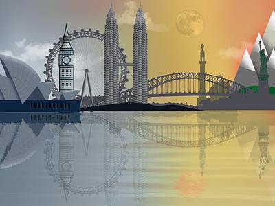 Hello World new york london kualalumpur sydney landmark world