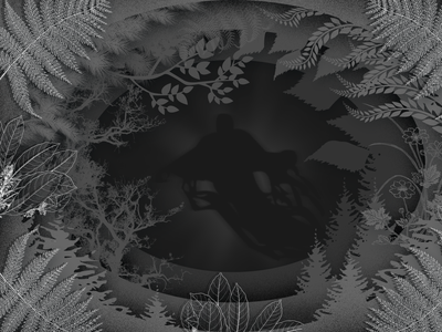 October grayscale graydesign spooky fog shadows ghost illustration dark forest