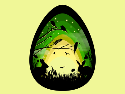 Easter Egg illustration wielkanoc birds yellow green springtime egg bunny easter bunny easter