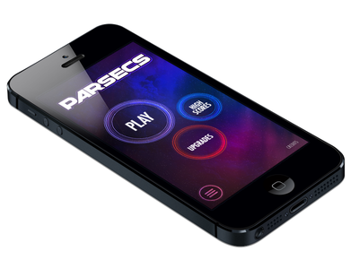 Title Screen parsecs title screen game ui ios iphone mockup space buttons glow round