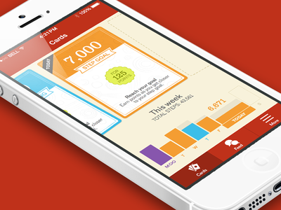 Card Screen cards walking pedometer ios ui playing cards app graph tabs interface iphone